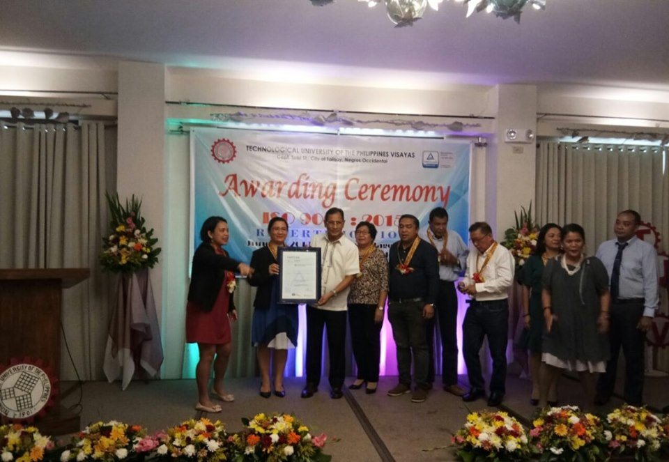 TUP Visayas Awarded the ISO 9001:2015 Re-Certification